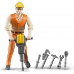 BRUDER Puppe - Bauarbeiter mit Zubehör
