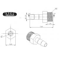 Racor recto M3 para tubería 2mm