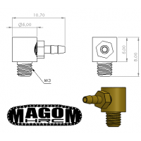 Racor 90º M3-tubería 2mm