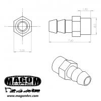 Racor recto M3-tubería 3mm