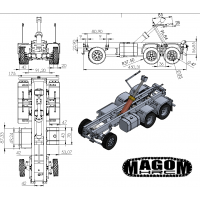 Chasis + grupos + ruedas + hidráulica para camión 6x6 - servo