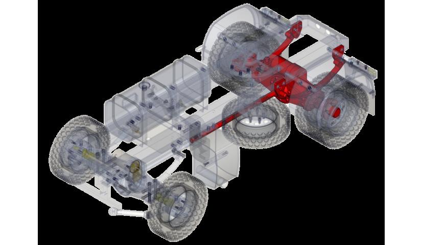 Essieu arrière simple 4x4 (SERVO)